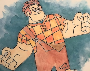 Disney's Ralph from Wreck It Ralph Watercolour Painting Print in A5 & A4.