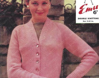 Instant PDF Digital Download ladies easy fast double knit cardigan 32 to 40 inch (361)