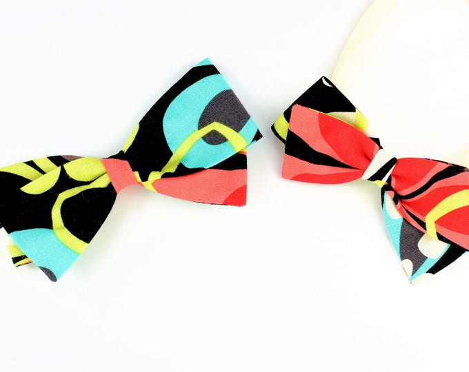 Neon Hair Bows - Wild Things Hair Bow for girls and babies - Nylon Headband and Hair Clips