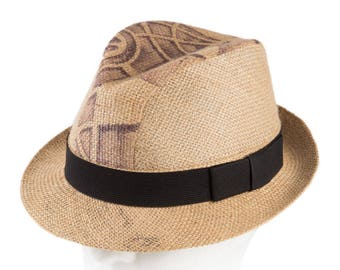 """Upcycling Hat Trilby hat """"Café Corretto"""" from coffee sack - motif """"Agricola"""" (size: 55 cm)"""