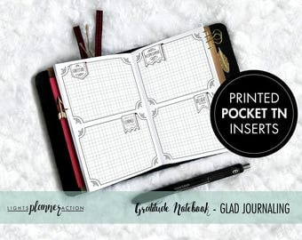 Printed Pocket Travelers Notebook | Gratitude Journal - GLAD Prompts | No2/Pocket Size TN Inserts