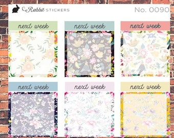 Next Week boxes Floral -- 0090 Bullet Journal stickers, planner stickers, bujo, weekly boxes, planner boxes