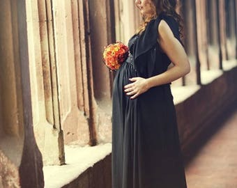 Long black chiffon and sequins, unique dress