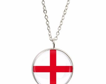 England Flag Pendant and Silver Plated Necklace