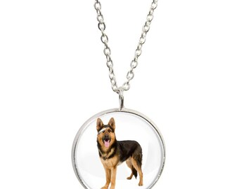 German Shephard Image On Pendant and Silver Plated Necklace