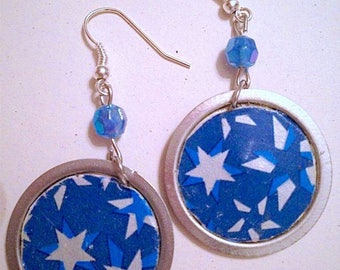 Recycled floppy disk earrings starry sky
