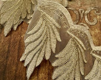 Gold Fancy Organza Lace, Fancy Lace Trim, Organza Lace, Gold Lace, Bridal Lace Trim, Wedding Lace,