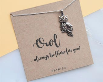 Owl Silver Necklace - Owl Pendant - Owl Gifts - Owl Always Love You - Silver Necklace - Friend Gift - Mum Gift - Sister Gift - Daughter Gift
