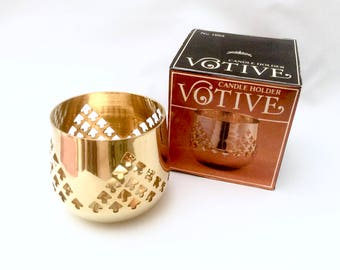 Solid Brass Votive Candle Holder New In Box Handcrafted in India