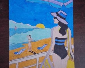 drawing woman at the beach