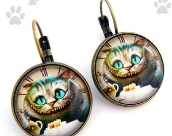 "Earrings cabochon ""cheshire cat"""