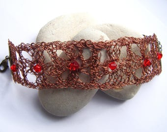 Crocheted with a wire Cuff Bracelet
