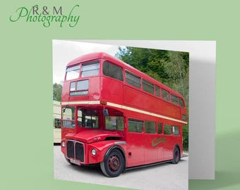 red london bus - greeting card - photo greeting card - london bus - red bus photo - any occasion card - personalised card - bus photography