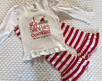 Girls Christmas Outfit Ruffle Pants & Shirt I Ate Santa's Cookies #noregrets - Red, Green,Silver Christmas Shirt Babies, Toddler, Youth