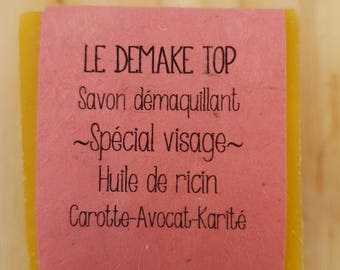 "The ""top Demake"" cleansing SOAP carrot juice, castor oil, avocado and Shea"