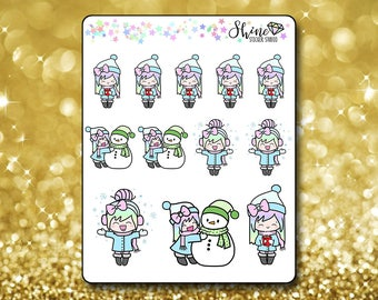 Luna Winter Stickers - Planner Stickers Erin Condren Life Planner Cute Emoji Winter Character Girl Stickers ECLP Stickers Happy Planner