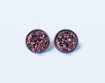 Rose Gold Stud Earrings, Rose Gold Druzy Earrings, Rose Gold Earrings, Rose Gold Post Earrings, Gold Stud Earrings,12mm Druzy Stud Earrings