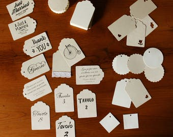 Customizable tags. Beginnings, wedding names, date, graphics, phrases. Print-Duplex / White / Black or Color-Cord Included (Conf. 20)