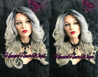 Multitone Gray Ombre Human Hair Blend Lace Front Wig - Myrsky