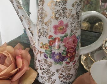 Beautiful vintage floral chintz coffee pot