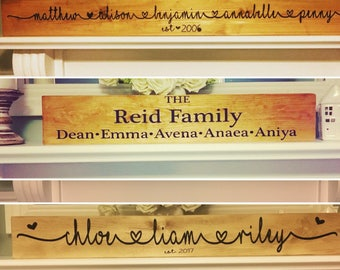 Family name names wooden sign rustic painted 3 sizes farmhouse scandinavian