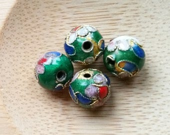 cloisonne enamel 8mm round beads 4 pcs