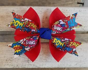 Super Hero Comic Style Hair Bow (4 inch)