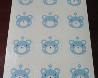 Set of 12 stickers Cubs blue on white background