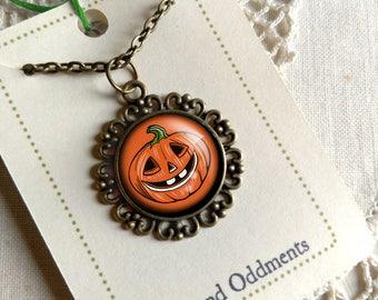 Retro Halloween Jack O Lantern  Pendant Necklace