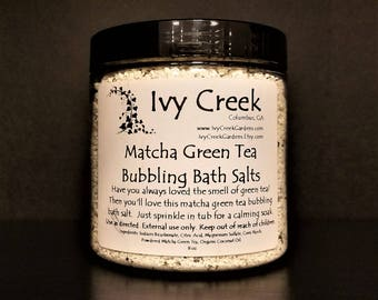 Matcha Green Tea Bubbling Bath Salts, Bath Bomb, Bath Salt, Natural Bath Bomb Salt, Natural Bath Salt, Matcha Green Tea, Bath Fizzy