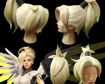 Wig for cosplay Mercy/game Overwatch))