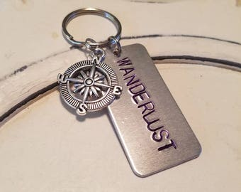 Wanderlust keychain,  gifts for travelers, gifts for him, gifts for her