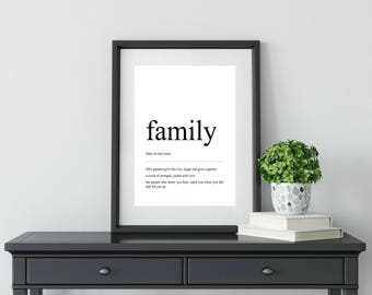 Family | Definition Print | Wall Art | Home Decor | Gift For Her | Gift For Him | Hallway Decor