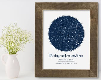 Custom Star Sky Print Wall Art Poster Personalized Framed Wedding Gift Anniversary Birthday Bridal Shower Unique Baptism Nursery Romantic