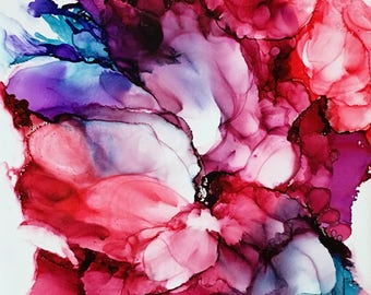 Alcohol ink floral in red, rose, blue, white, lavender