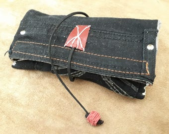 Tobacco holders black and red jeans white hand stitching