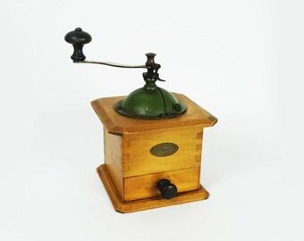French vintage coffee grinder, green color, Peugeot