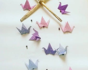 Mobile origami purple crane, birth, driftwood, gifts, baby baptism, baby