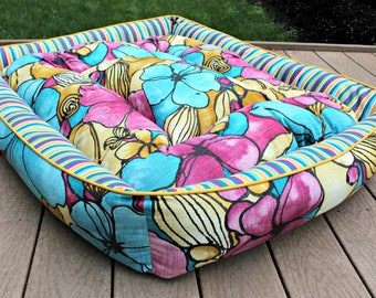 Dog Bed ~ XL Dog Bed ~ Brightly Colored Floral and Striped Dog Bed for Summer ~ Handmade , Stuffed, and Durable Dog Bed with Zipper