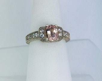 Natural Oval cut 7x5 Moganite Sterling Silver Ring With 6 1/2.