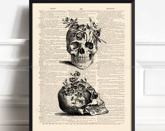 Skull Flowers Print, Gifts For Husband, Skull Head Print, Geekery Skull Poster, Funny Office Print, Nerd Room Decor, Dictionary Poster,  167