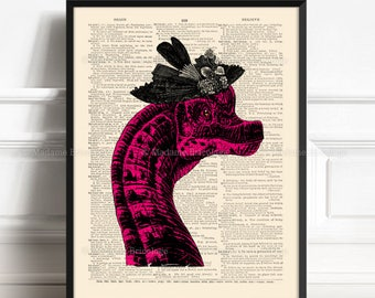 Dinosaur On The Wall, Dinosaur Poster, Cool Dinosaurs, Funny Dorm Poster, Geekery Dinosaur, Baby Gift, Old Dictionary Print, Wall Art 008