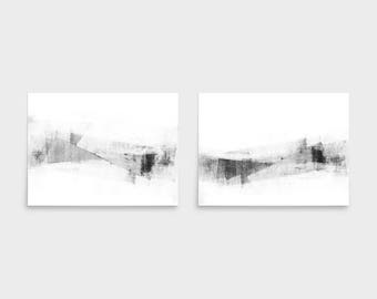 Black & White Print Set, Scandinavian Print, Set of 2 Prints, Horizontal Wall Art, Grey and White Abstract Art, Minimalist Art, Framed Art