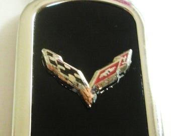 Corvette C7 Black Onyx & Silver Keychain-Free Engraving