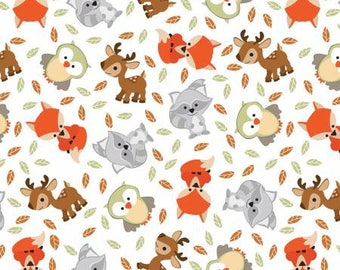 Cream/Grey Sweet Woodland Friends Double Brushed Fleece anti-pill polyester kids by the yard metre DT5370DBCW1 forest animals fox deer