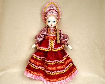 Burgundy Russian Porcelain Art Doll 19 inches Collectible handmade folk Doll