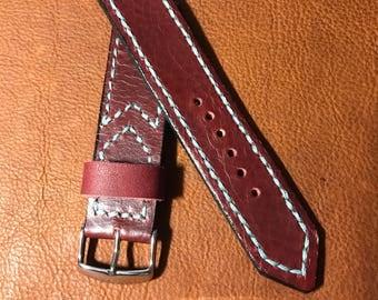 Hand Stitched Vintage Redwood Horween Leather Strap 22mm wide