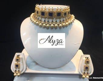 Alyza Pearls Western Jadavi Lacha in Sapphire Onyx stones