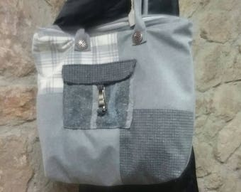 Patchwork fabric bag in shades of gray