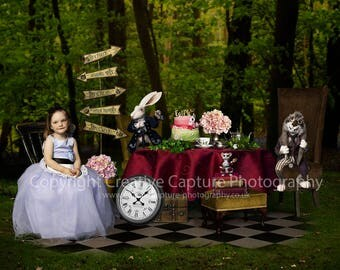 Digital backdrop / background / Fairytale / Mad hatters tea party / Alice in wonderland / Instant download